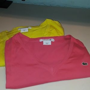 Lacoste tee 44 yellow pink